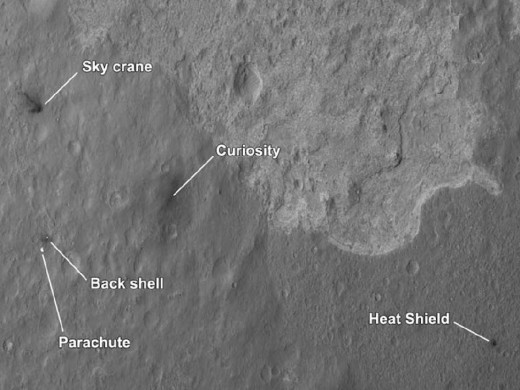 The next day, MRO passed over the landing area and snapped all of the descent stages' parts. Distances from Curiosity to heat shield: 1200 meters, parachute, 1650 meters, sky crane, 650 meters