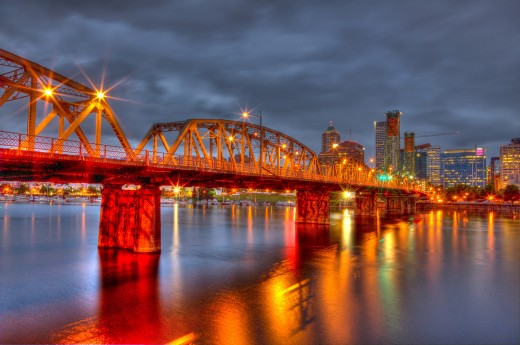 Hawthorne Bridge in Portland, Oregon converted to HDR Photography.
