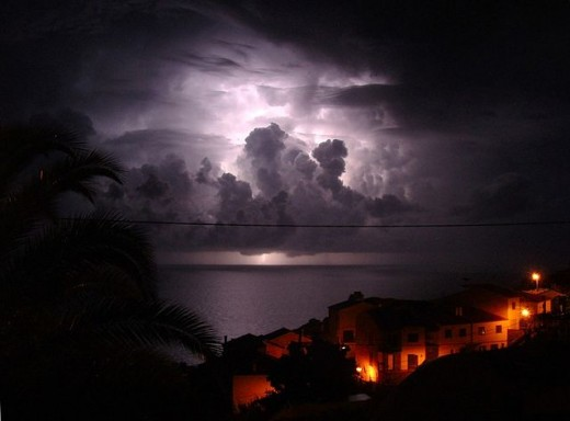 Thunder above Madeira waters in Portugal