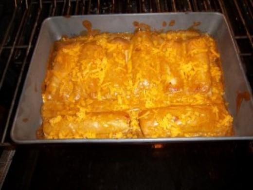 Cooked chicken enchiladas