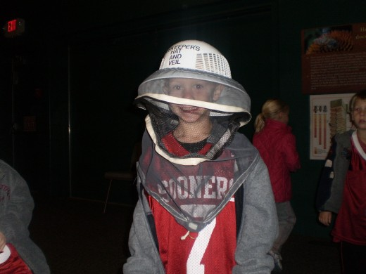 Enjoying the beekeeping suit at the McKinley Presidential Library & Museum in Canton, OH