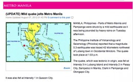 A mild 5.3 earthquake rocks Manila before flood decimates city and yet is not mentioned in connection to floods.
