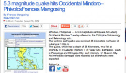 Another report confirms the earthquake and after shocks rock Manila during flood.