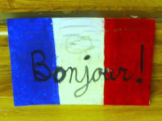 Here is a French flag that I drew and colored with oil pastels.