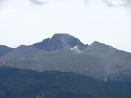 Normally this peak in Colorado would have snow on it year round but due to severe climate change only has a few scattered patches.