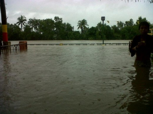 Flood in Bocaue, Bulacan. Bulacan is a province north of Metro Manila