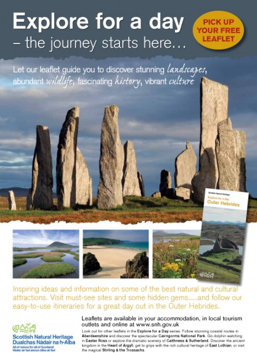 Explore the Outer Hebrides - double sided A4 tourism leaflet.