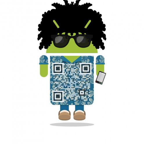 ZaraAndroid wearing a digital Hawaiian shirt.