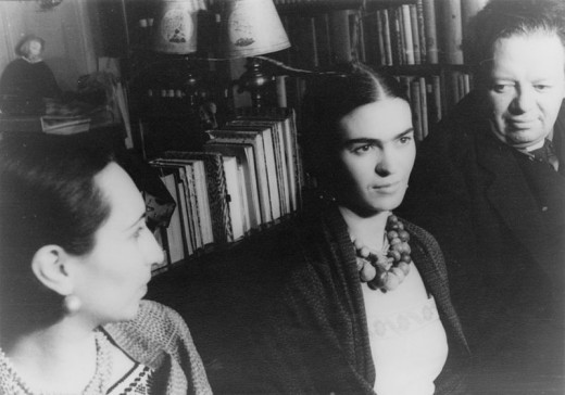 Frida Kahlo is in the center of this photo.