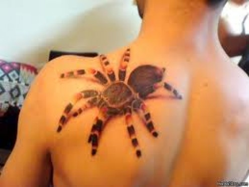 This Spider Tattoo was done very well because it really looks like a huge spider is climbing on this persons back.