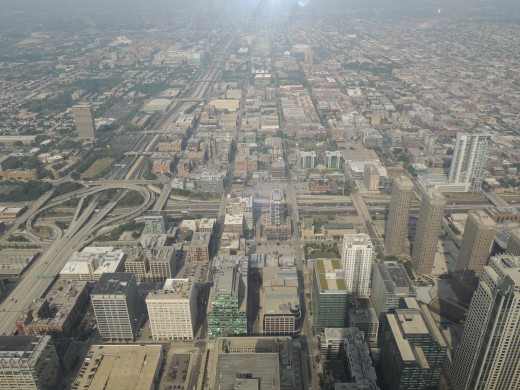 View from the glass ledge up on the Sky Deck of Willis Tower