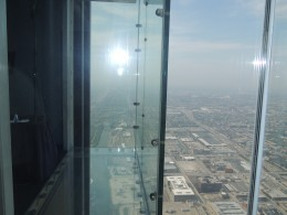 View from the glass ledge on the Sky Deck on another glass ledge