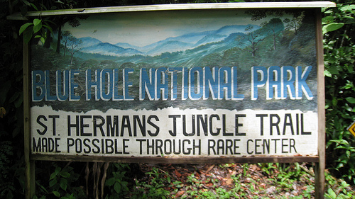 Sign to Blue Hole National Park.  The site where we began hitch-hiking.