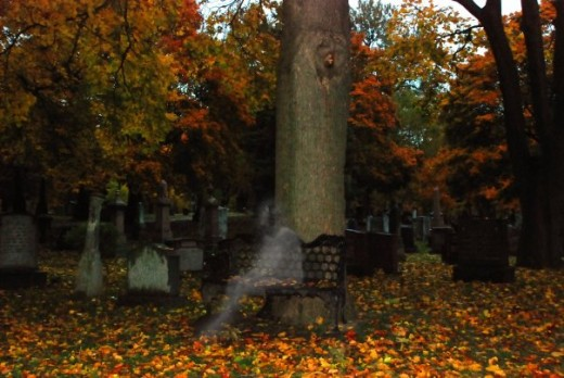 This is an edited photo of the shot I took inside St. James Cemetery and added which is obviously a ghost-like figure.  I still get spooked even if I know it was not there and if it was, I can't imagine what I could have done right that same moment.