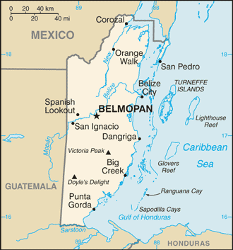 View of Belize with larger cities and mountains noted.