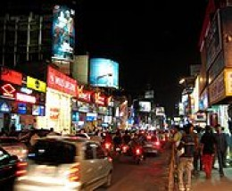 BRIGADE ROAD,favourite haunt for foreigners and locals for shopping and restaurants.