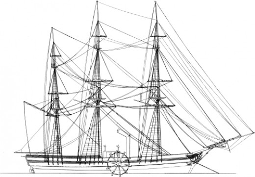 US Paddle Steamship, Savannah made the first powered crossing of the Atlantic (with assistance from its sails) in 1819