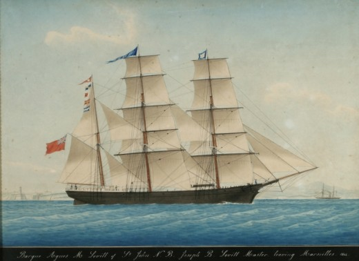 A barque showing lateen sails