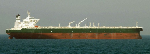 Super tanker carrying oil