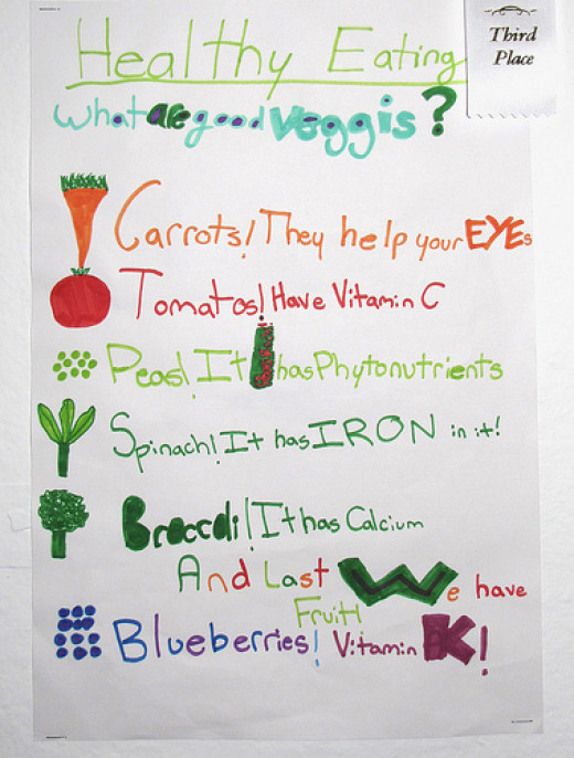 Young child's list of vegetables and their healthful attributes.