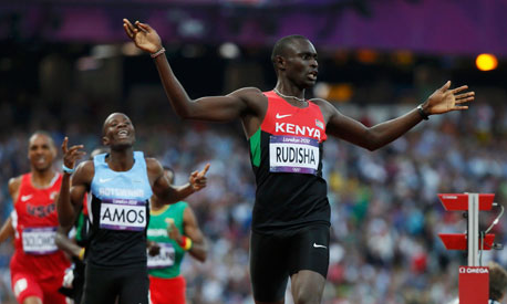 David Rudisha after winning gold at London Olympics 800m final in a world record time of 1:40.91