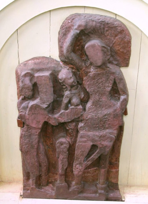 Buddha Nativity Sculpture depicts the birth of Siddhartha Gautama. This stone idol was excavated in Lumbini.