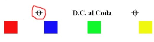 You play this D.C. al Coda example as red, blue, green, red, yellow.