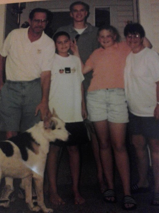 Gary, my brother, me, my mom, our dog pirate and Florin (an exchange student from Germany)
