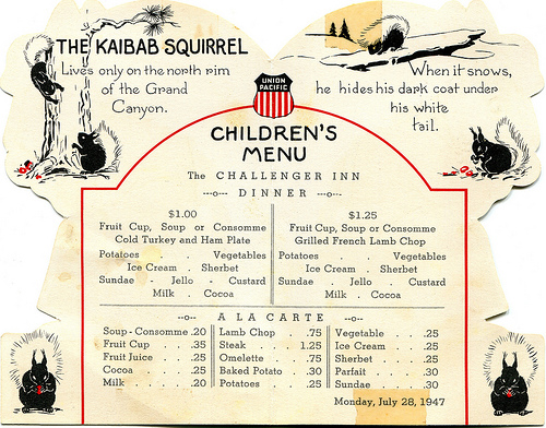 We wonder if we could bring back the kiddie fare of years past, rather than the same old mac and cheese and chicken fingers...
