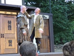 """Antonio and Graziano from """"The Merchant of Venice,"""" performed outdoors at Stan Hywet Gardens in Akron, OH. (Ohio Shakespeare Festival)"""