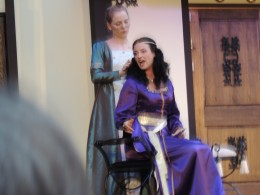 """Nerissa and Portia performing in """"The Merchant of Venice"""" at Stan Hywet Gardens.  (Ohio Shakespeare Festival)"""