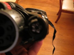 Invisble IR lights, cannot be seen with the naked eye or with the camera, but can be seen with another pair of night vision goggles.
