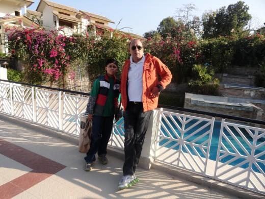 son and hubby at Kaziranga National Park @ Iora Resort