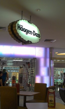 Haagen-Dazs is one of the many cafes along Orchard Road.