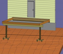 Fig 4. Deck frame with beam, temporary posts on level base, and braces