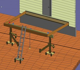 Fig 7. Securing ladder with level base to build a high deck