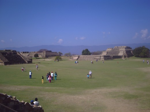 View from Ball Court looking west towards System H, System IV, and Temple of the Dancers.