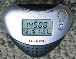 A heart-shaped digital pedometer with various information:  Steps, date, and calories are clearly indicated.