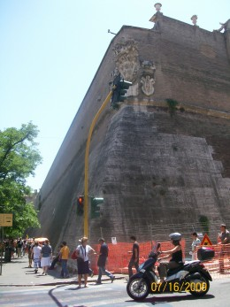 The outside walls of the Vatican