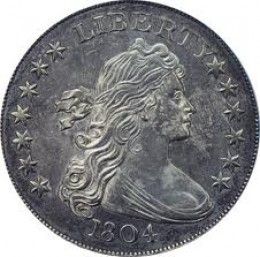 The obverse side of the 1804 silver dollar.
