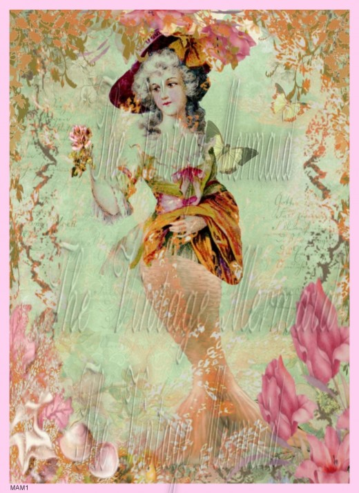Marie Antoinette Mermaid Fabric Block Designed by The Vintage Mermaid