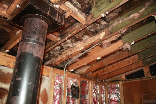 You probably won't climb into the attic when you visit the house, but if you reach in and take photos with flash, you may discover important signs of problems, like this extensive water damage.