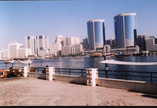 A View of the Deira side of Dubai from Bur Dubai side across the Creek.
