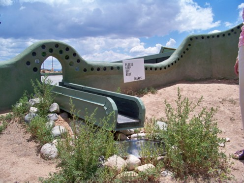 This Earthship roof is designed to catch rain and direct it toward the built-in cistern underground.