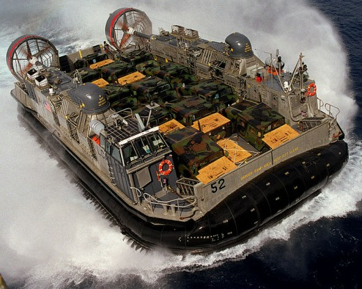 Large US military hovercraft