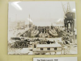 What excitement! The War effort was on, and a historic building and launch of 3 submarines at one time