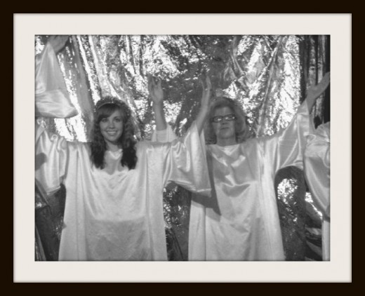 Mom as an angel in the church play Heaven's Gates, Hell's Flames