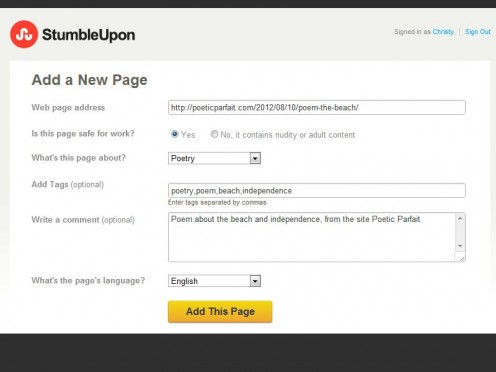 Fill out all fields for your post on the submission page.