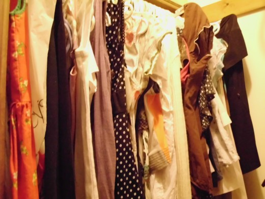How tight one side of my closet is, mostly from thrift stores and this is just one season!