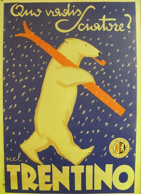 Vintage ski posters make great wall art for a ski cabin theme.